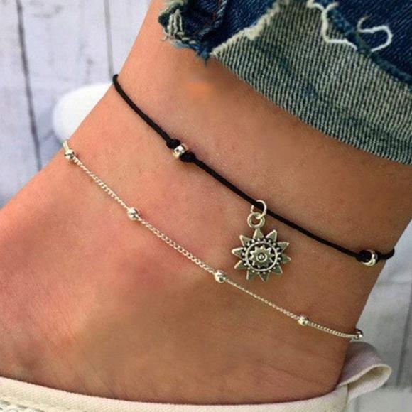 Layered Anklet Silver Bracelet